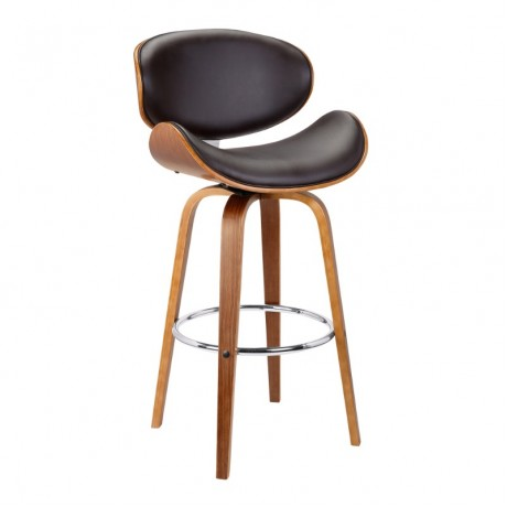 "Solvang 26"" Mid-Century Swivel Counter Height Barstool in Brown Faux Leather with Walnut Wood"