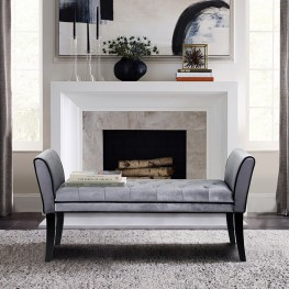 Armen Living Chatham Bench in Gray Velvet