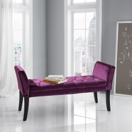 Armen Living Chatham Bench in Purple Velvet