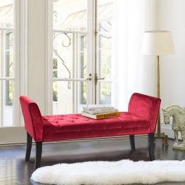 Armen Living Chatham Bench in Red Velvet