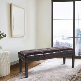 Armen Living Howard Bench Brown Bonded Leather