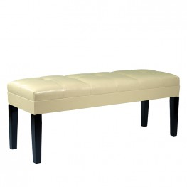Armen Living Howard Bench Cream Bonded Leather