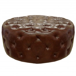 Armen Living Victoria Ottoman In Brown Bonded Leather