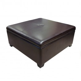 Armen Living 5026 Square Storage Ottoman With Brown Leather