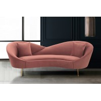 Anabella Blush Fabric Upholstered Sofa with Brushed Gold Legs