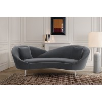 Anabella Gray Fabric Upholstered Sofa with Silver Legs