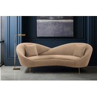 Anabella Natural Fabric Upholstered Sofa with Brushed Gold Legs