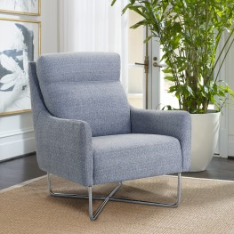 Amber Graphite Contemporary Swoop Arm Accent Chair with Metal Base