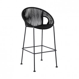 "Acapulco 26"" Indoor Outdoor Steel Bar Stool with Black Rope"
