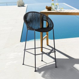 "Acapulco 30"" Indoor Outdoor Steel Bar Stool with Black Rope"
