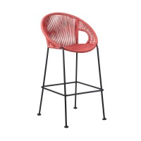 """Acapulco 26"""" Indoor Outdoor Steel Bar Stool with Brick Red Rope"""