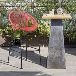 "Acapulco 26"" Indoor Outdoor Steel Bar Stool with Brick Red Rope"