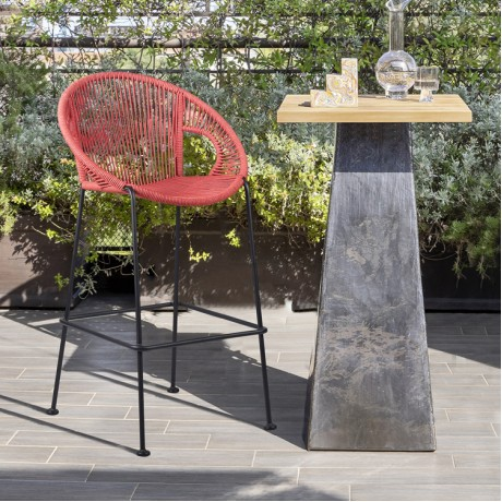 """Acapulco 30"""" Indoor Outdoor Steel Bar Stool with Brick Red Rope"""