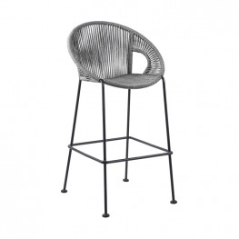 "Acapulco 26"" Indoor Outdoor Steel Bar Stool with Grey Rope"