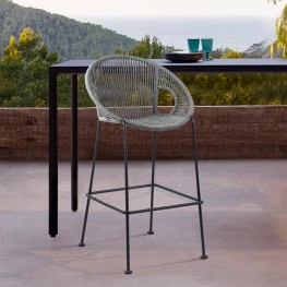 "Acapulco 30"" Indoor Outdoor Steel Bar Stool with Grey Rope"