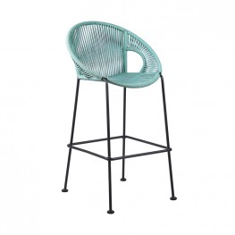 "Acapulco 26"" Indoor Outdoor Steel Bar Stool with Wasabi Rope"