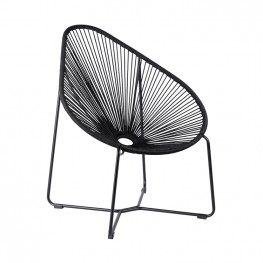 Acapulco Indoor Outdoor Steel Papasan Lounge Chair with Black Rope