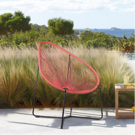 Acapulco Indoor Outdoor Steel Papasan Lounge Chair with Brick Red Rope