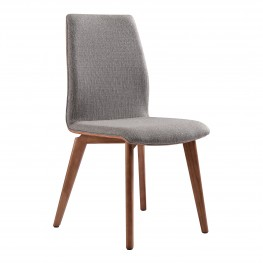 Archie Mid-Century Dining Chair in Walnut Finish and Gray Fabric - Set of 2