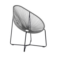 Acapulco Indoor Outdoor Steel Papasan Lounge Chair with Grey Rope