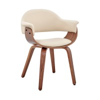 Adalyn Cream Faux Leather and Walnut Wood Dining Room Accent Chair