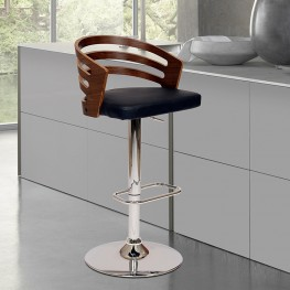 Armen Living Adele Swivel Barstool In Black PU/ Walnut Veneer and Chrome Base