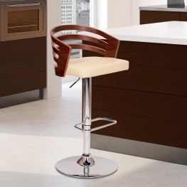 Armen Living Adele Swivel Barstool In Cream PU/ Walnut Veneer and Chrome Base