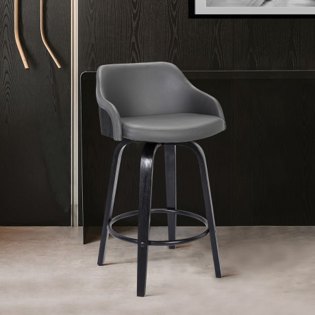 """Alec Contemporary 30""""Bar HeightSwivel Barstool in Black Brush Wood Finish and Grey Faux Leather"""