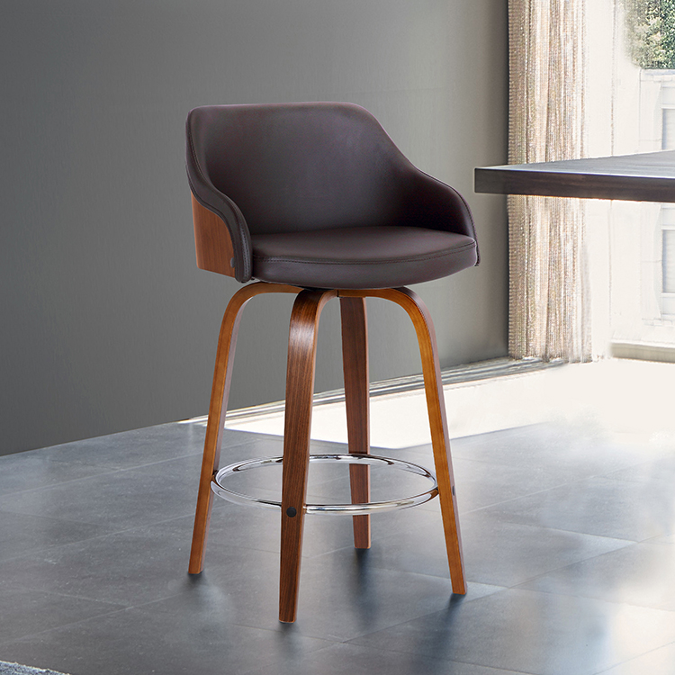Alec Contemporary 26 Counter Height Swivel Barstool In Walnut Wood Finish And Brown Faux Leather