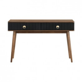 Amigo Black Veneer and Walnut Wood Console Table