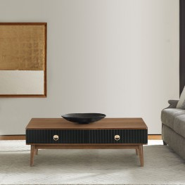 Amigo Black Veneer and Walnut Wood Coffee Table
