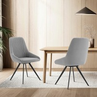 Alison Swivel Gray Velvet and Metal Dining Room Chairs - Set of 2
