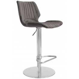 Anika Adjustable Swivel Barstool with Brushed Stainless Steel Finish and Grey Velvet