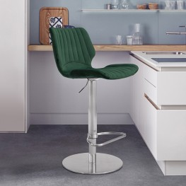 Anika Adjustable Swivel Barstool with Brushed Stainless Steel Finish and Green Velvet
