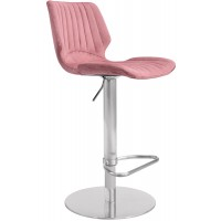 Anika Adjustable Swivel Barstool with Brushed Stainless Steel Finish and Pink Velvet