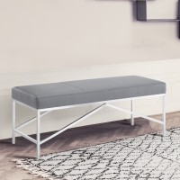 Alyssa Contemporary Bench in Brushed Stainless Steel and Grey Faux Leather