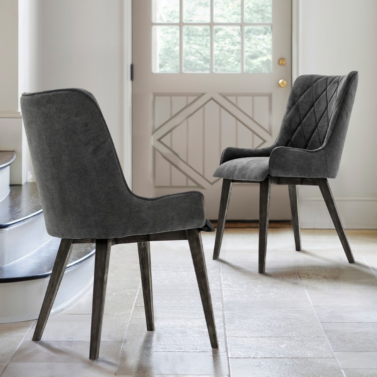 Alana Charcoal Upholstered Dining Chair Set Of 2
