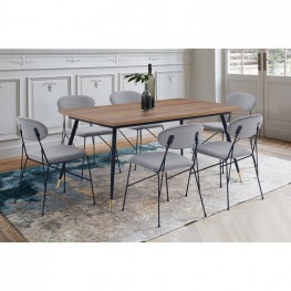 Alice Modern Gray Velvet and Metal Dining Room Chairs - Set of 2