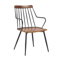 Alcott Contemporary Walnut and Metal Dining Room Chair