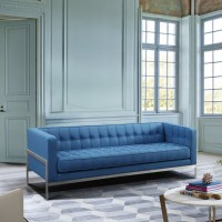 Andre Contemporary Sofa in Brushed Stainless Steel and Blue Fabric