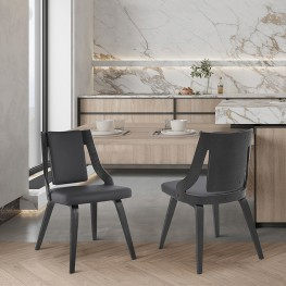 Aniston Gray Faux Leather and Black Wood Dining Chairs - Set of 2