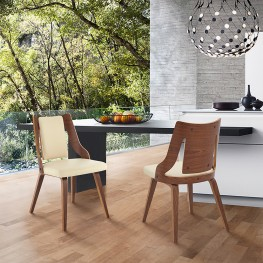 Aniston Cream Faux Leather and Walnut Wood Dining Chairs - Set of 2