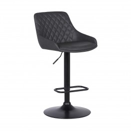 Anibal Contemporary Adjustable Barstool in Black Powder Coated Finish and Grey Faux Leather