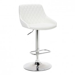 Anibal Contemporary Adjustable Barstool in Chrome Finish and White Faux Leather