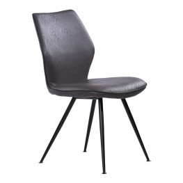 Agoura Contemporary Dining Chair in Black Powder Coated Finish and Grey Faux Leather - Set of 2