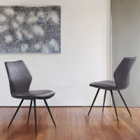 Armen Living Agoura Contemporary Dining Chair in Black Powder Coated Finish and Grey Faux Leather - Set of 2