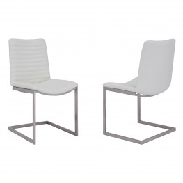 April Contemporary Dining Chair in Brushed Stainless Steel Finish and White Faux Leather - Set of 2
