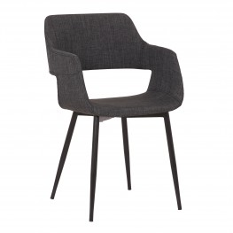 Ariana Mid-Century Charcoal Open Back Dining Accent Chair