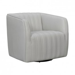 Aries Dove Grey Genuine Leather Swivel Barrel Chair