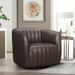 Aries Espresso Genuine Leather Swivel Barrel Chair